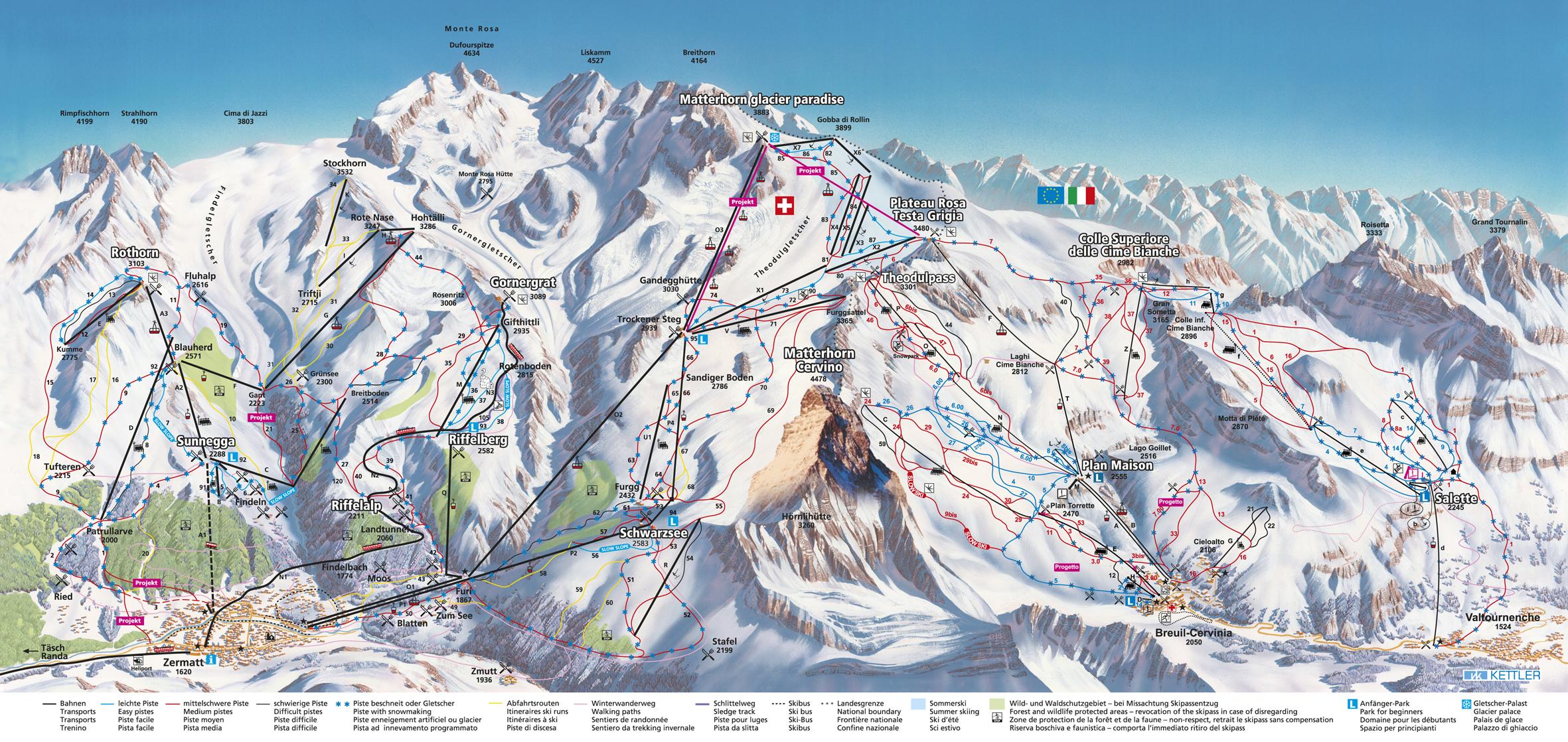 Pistenplan Skigebiet Zermatt - Zermattportal.de